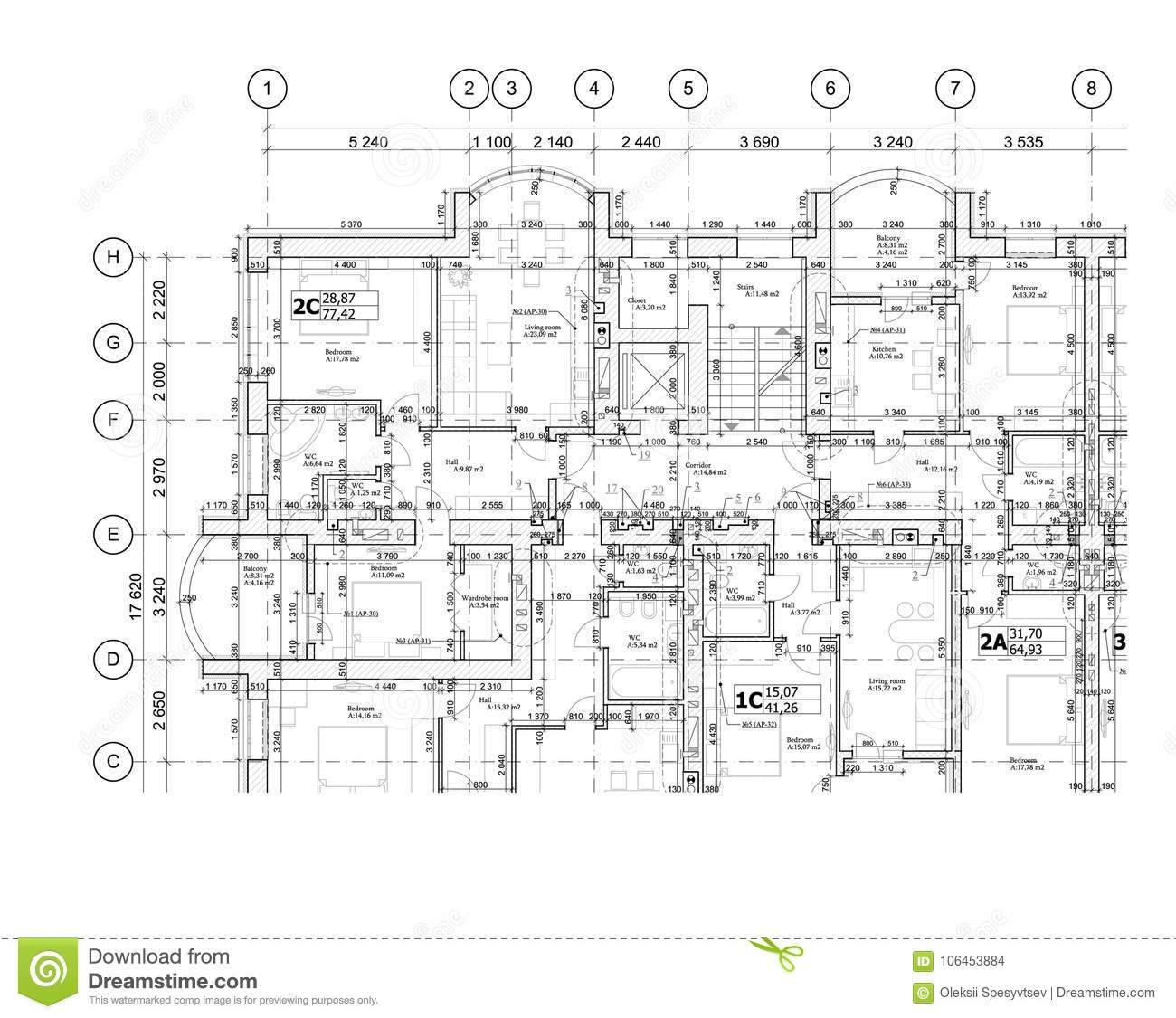 Part Of A Detailed Architectural Plan, Floor Plan, Layout
