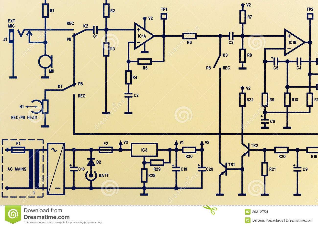 hight resolution of image of an electronic schematic diagram circuitry shown is a portion of a tape recorder