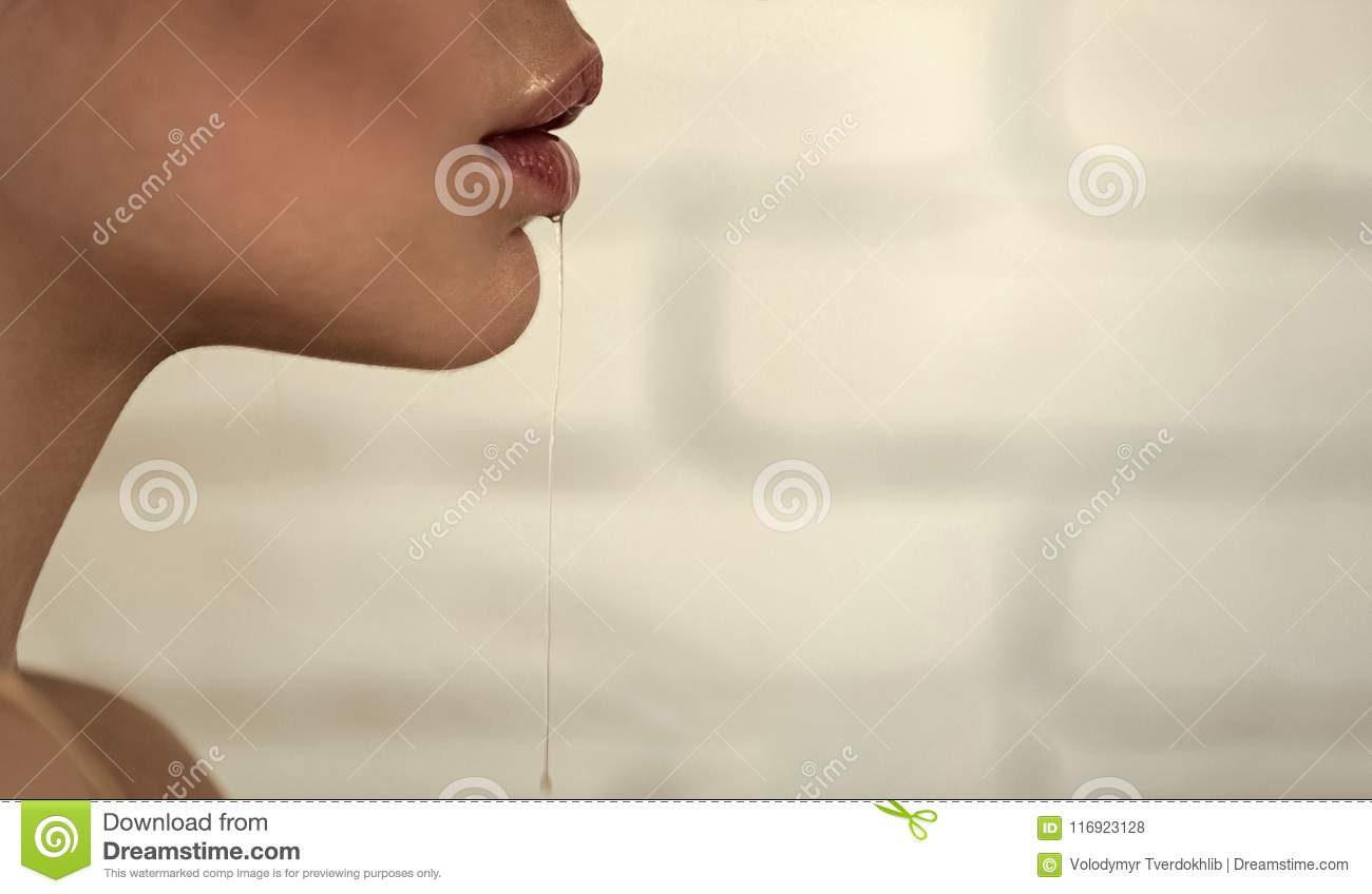 Part Of Female Face With Saliva Drool From Mouth Stock Photo - Image of wall. part: 116923128