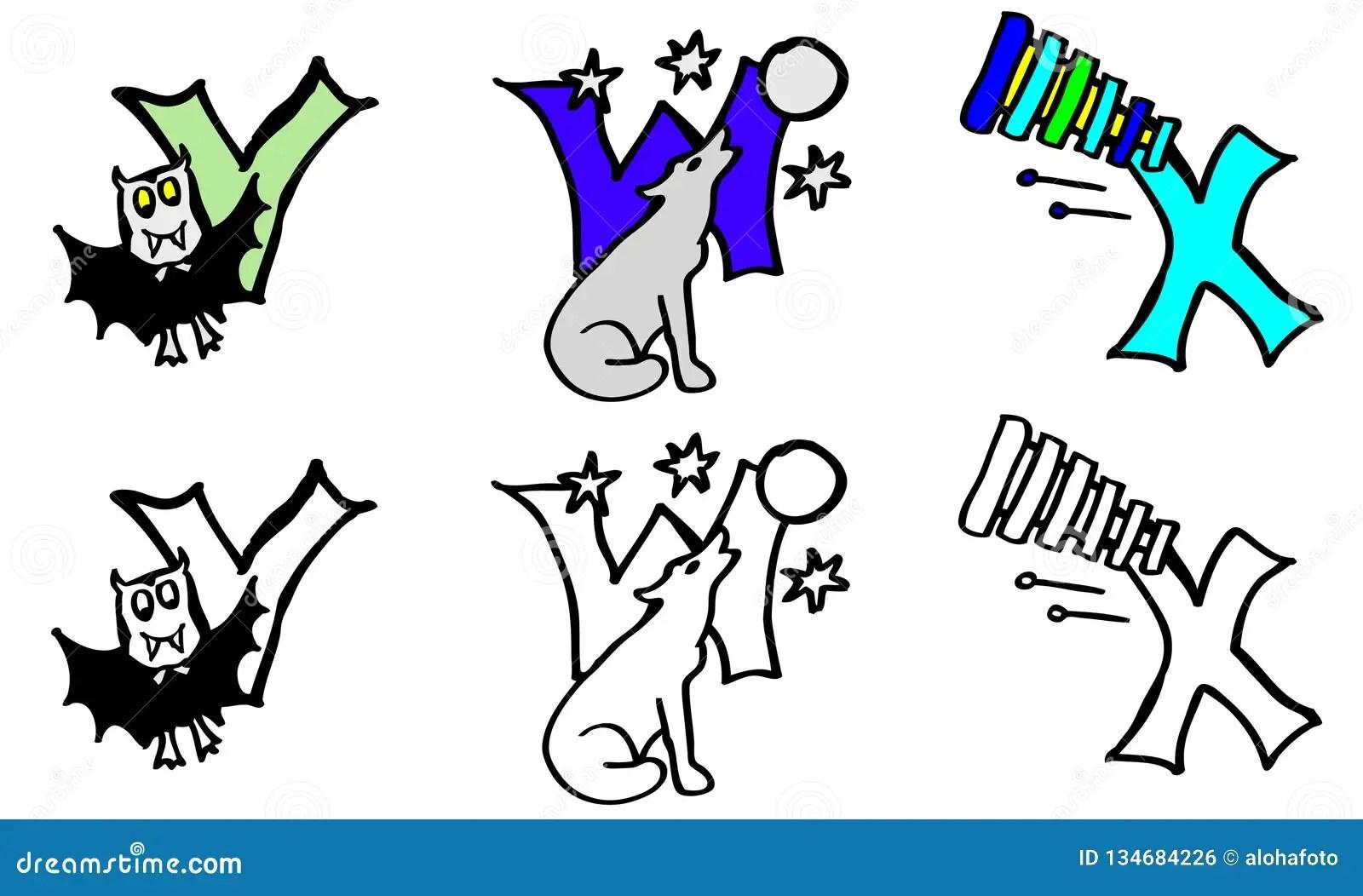 Alphabet Letter V Pictures Vector Illustration