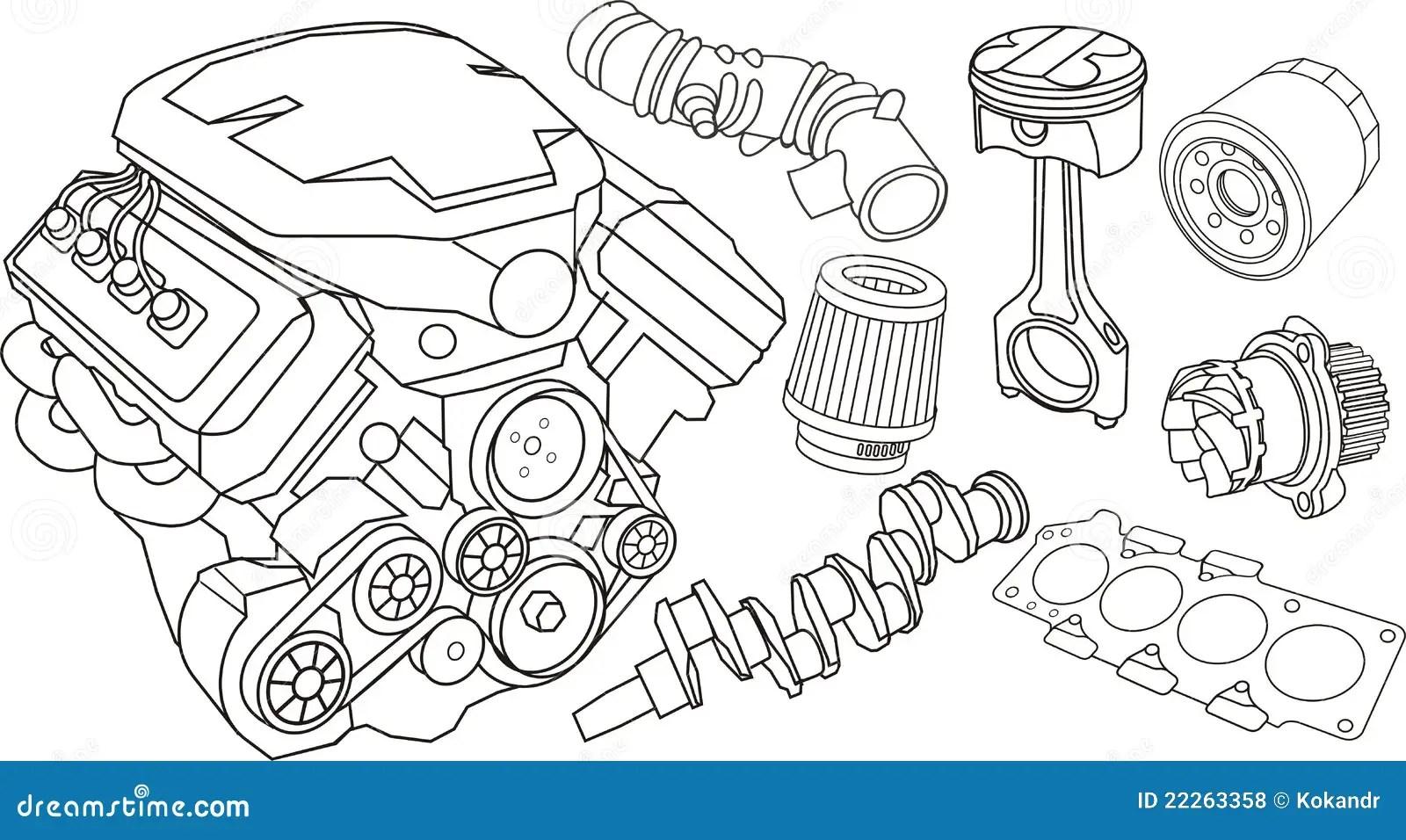 Parti Di Motore Dell Automobile Illustrazione Vettoriale