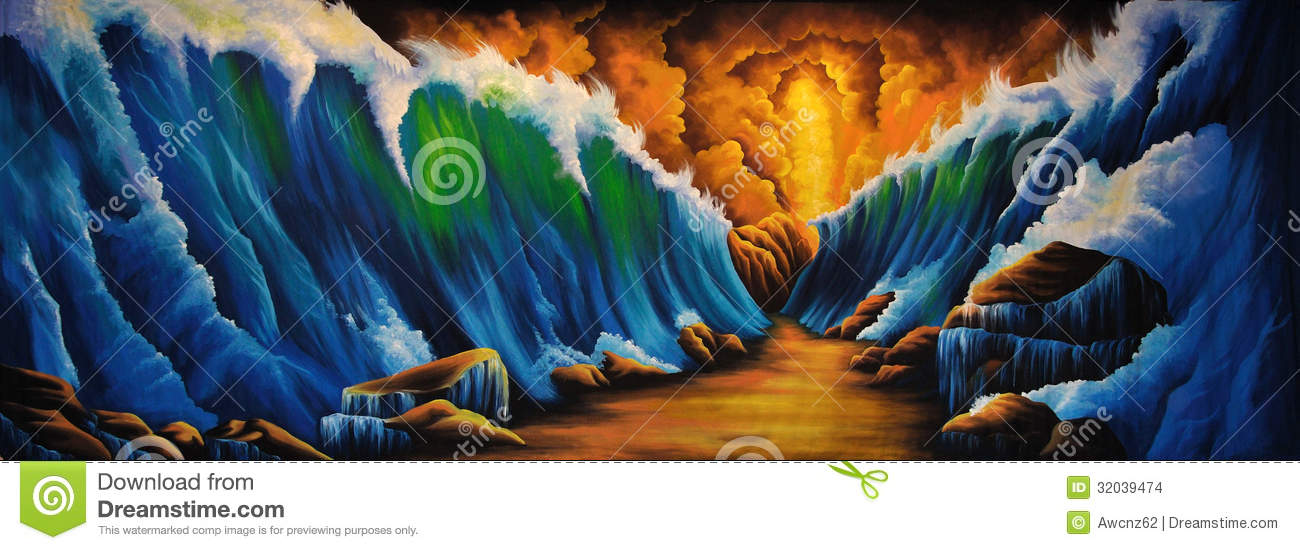 Parting Of The Red Sea Stock Illustration Illustration Of