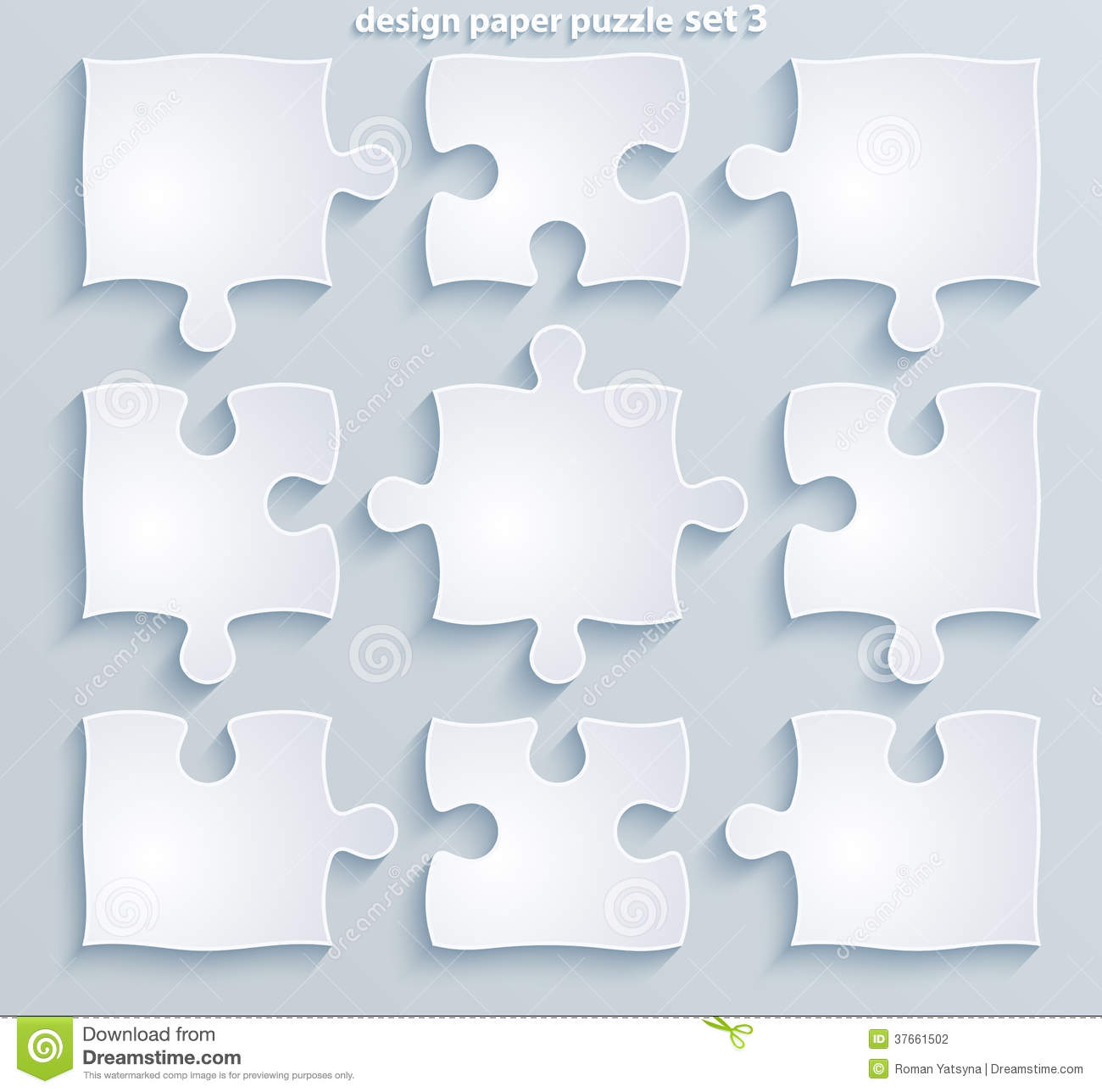 Parts Of Colorful Puzzles Set Of 8 4 10 Vector Stock