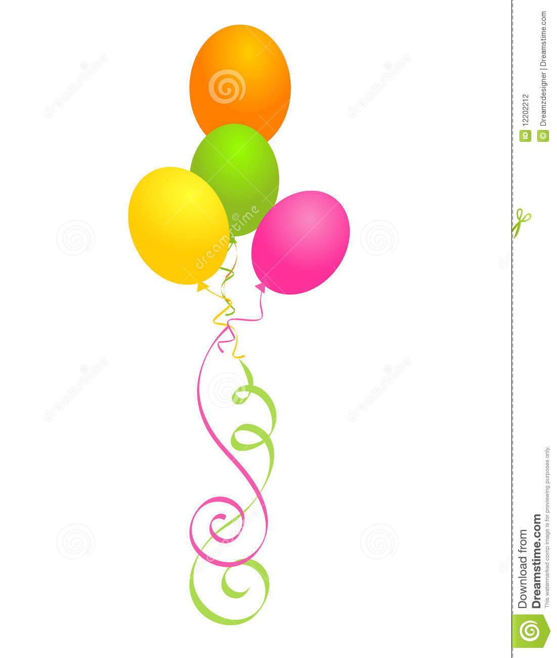 hight resolution of illustration of a bunch of multi colored balloons with curly ribbons clipart isolated on white background