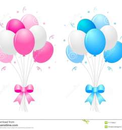 illustration of a bunch of multi colored 9pink blue and white balloons with curly ribbons clipart isolated on white background [ 1300 x 1101 Pixel ]