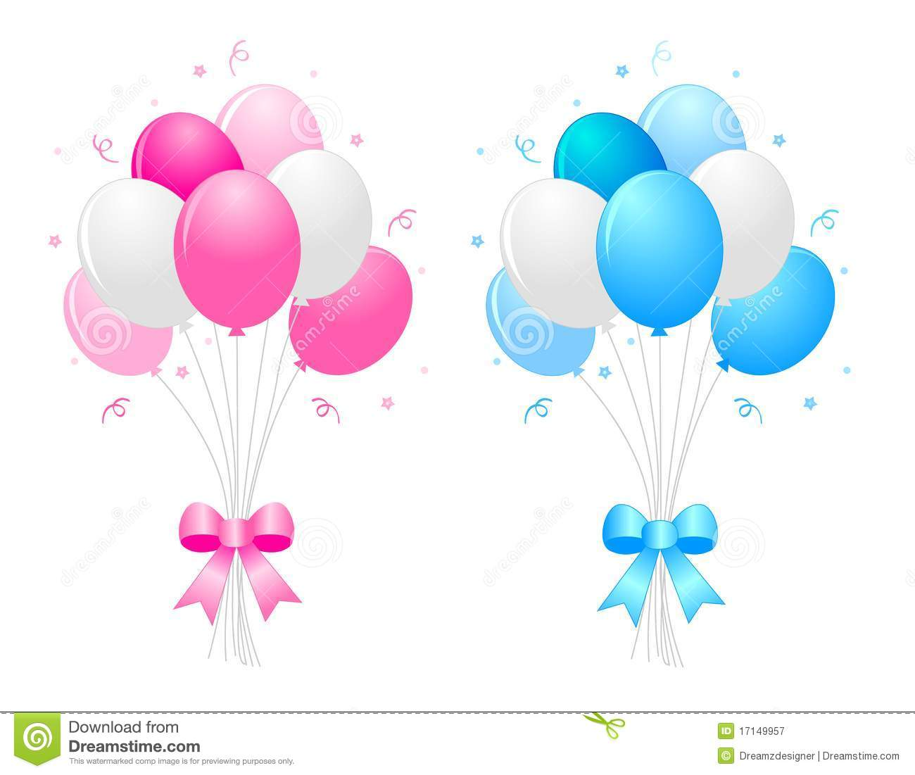 hight resolution of illustration of a bunch of multi colored 9pink blue and white balloons with curly ribbons clipart isolated on white background