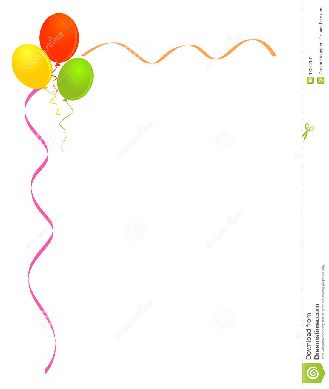 hight resolution of party balloons frame border