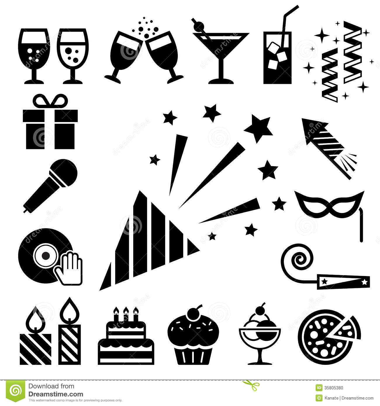 Party And Celebration Icon Set Stock Vector