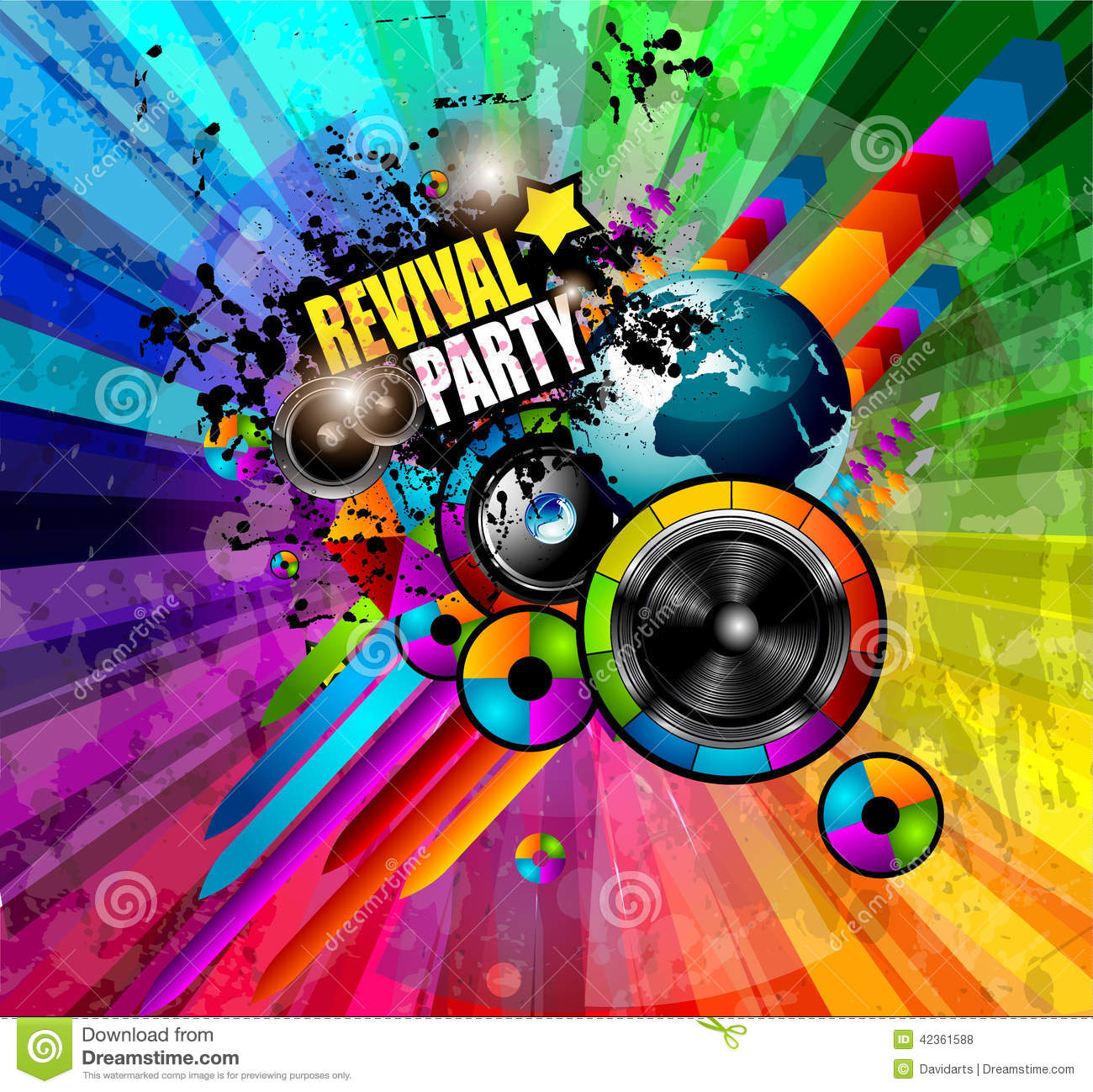 Grunge Girl Wallpaper Party Club Flyer For Music Event With Explosion Of Colors
