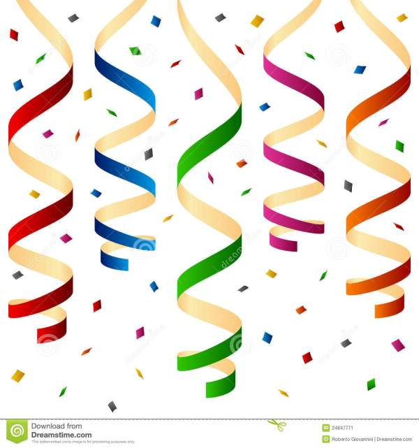 party streamers and confetti stock