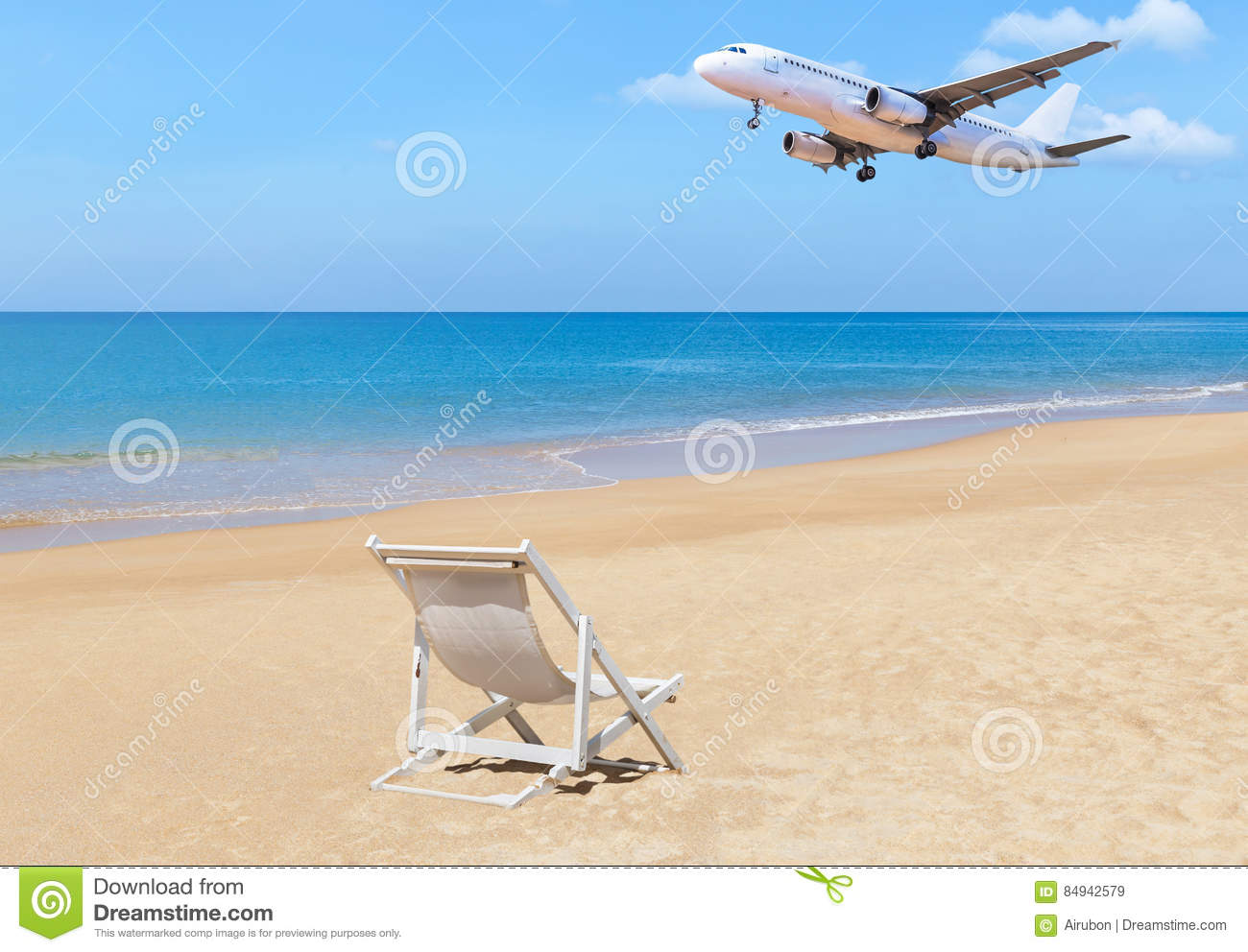 air travel beach chairs small round patio table and 2 passenger airplane flying landing above tropical with white wooden chair on blue sky background destinations concept