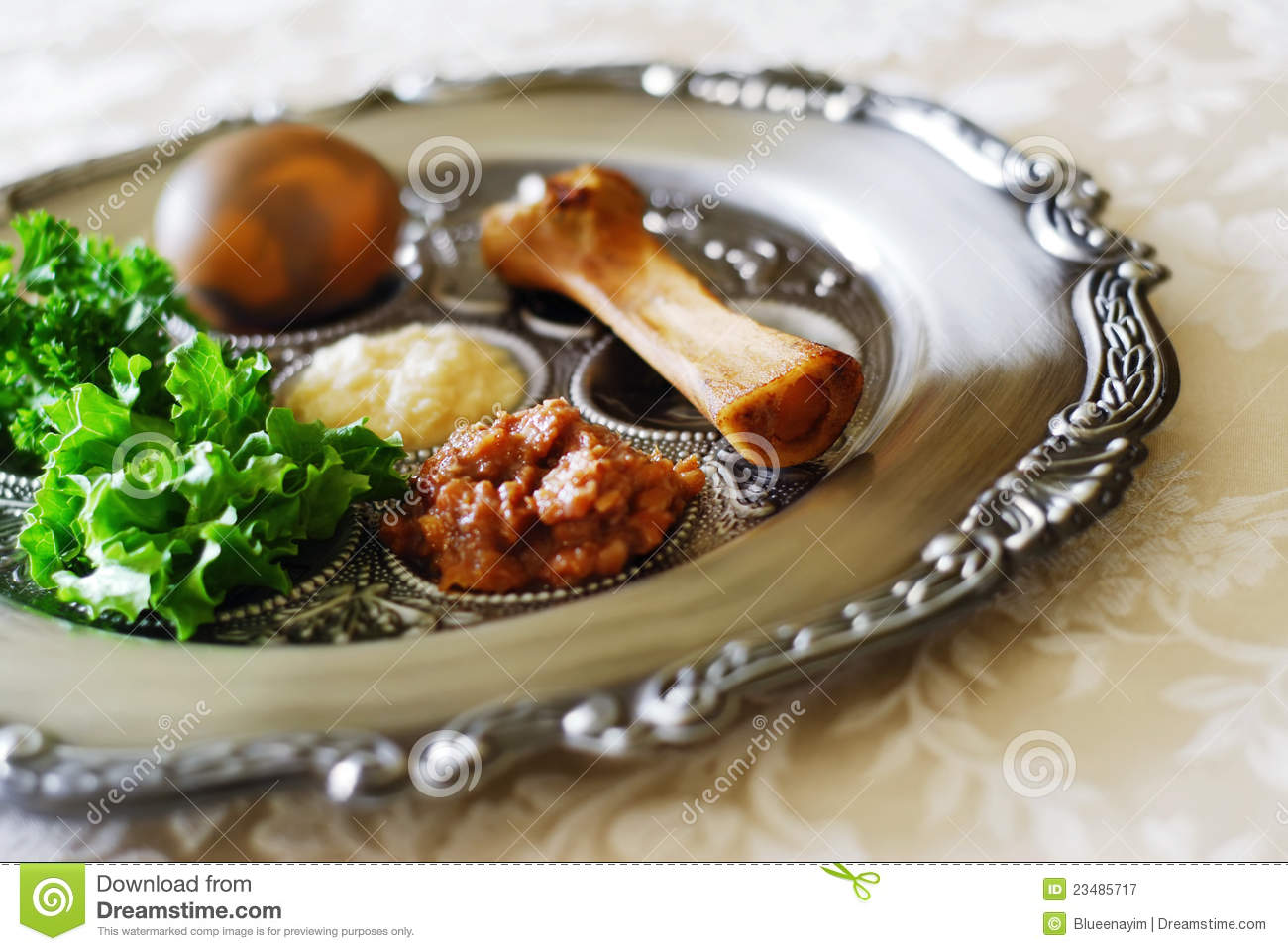 Passover Seder Plate Stock Image Image Of Cultural Maror