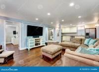 Pastel Blue Walls In Basement Living Room Interior. Stock ...