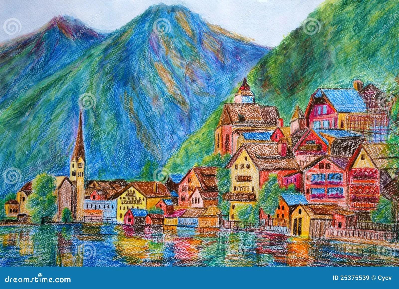 Fall Church Pictures Free Wallpaper Pastel Painting Austria Hallstatt Royalty Free Stock