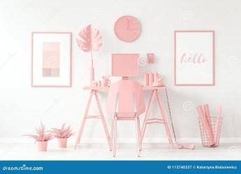 pastel aesthetic cute pink workspace interior feminine
