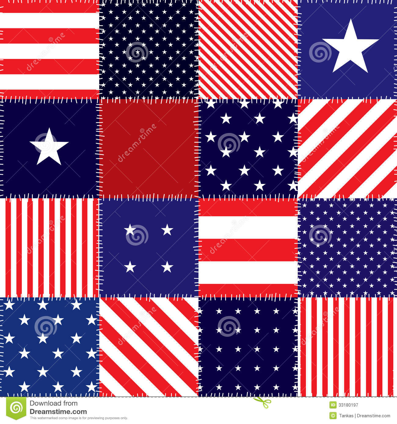 Patchwork of american flag stock vector Illustration of