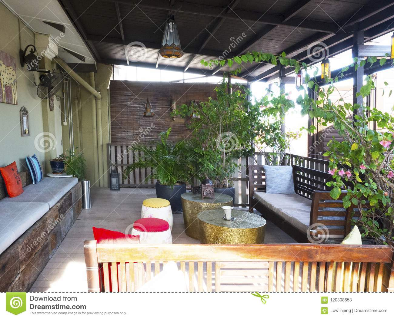 tropical living room in malaysia paint colors with brown couch patio campbell house georgetown penang stock photo