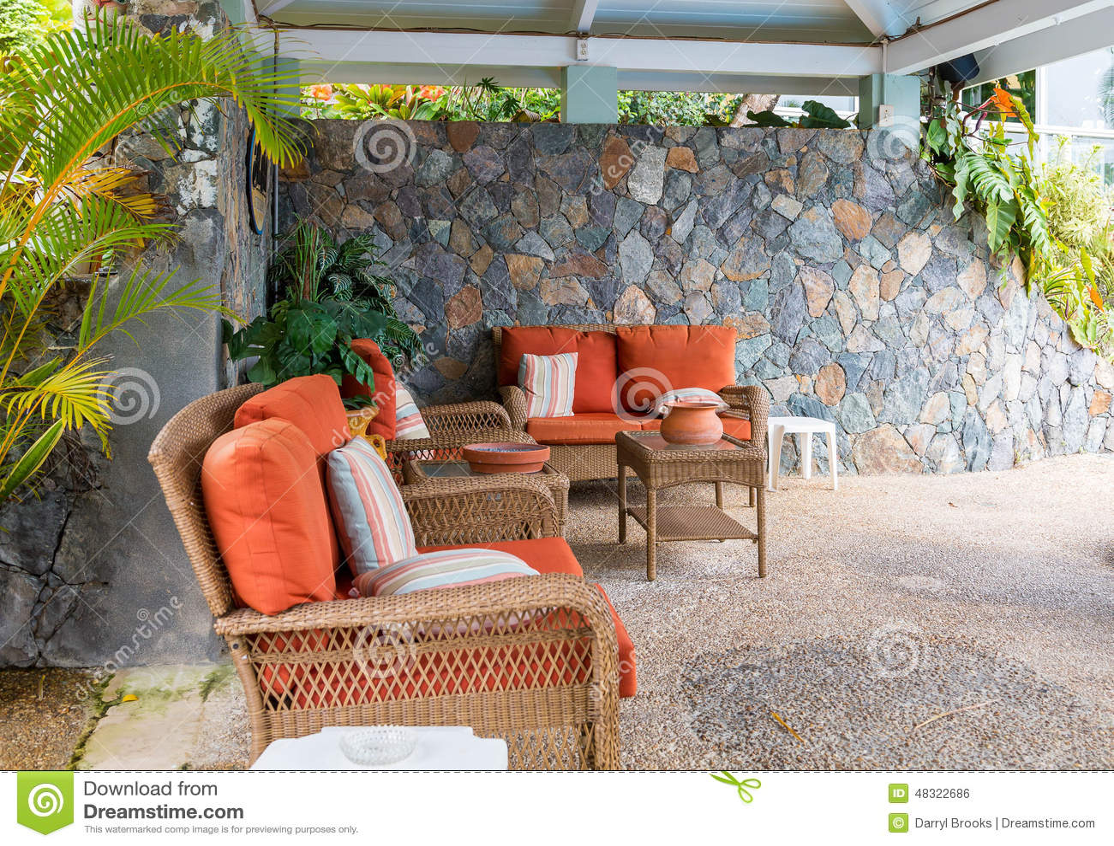 orange wicker chair cushions backyard swing patio furniture with cushion stock photo image