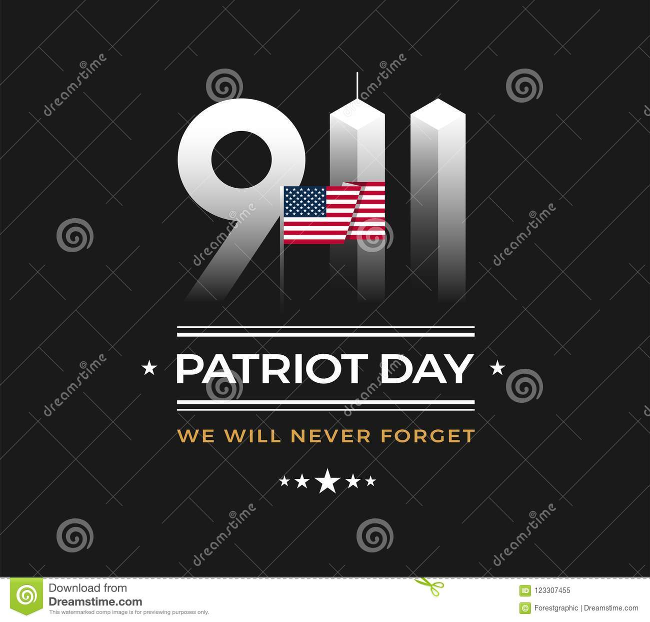 Patriot Day 9 11 Memorial Illustration With Usa Flag 911