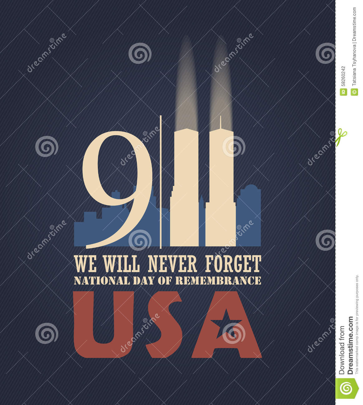 9 11 Patriot Day September 11 Stock Vector