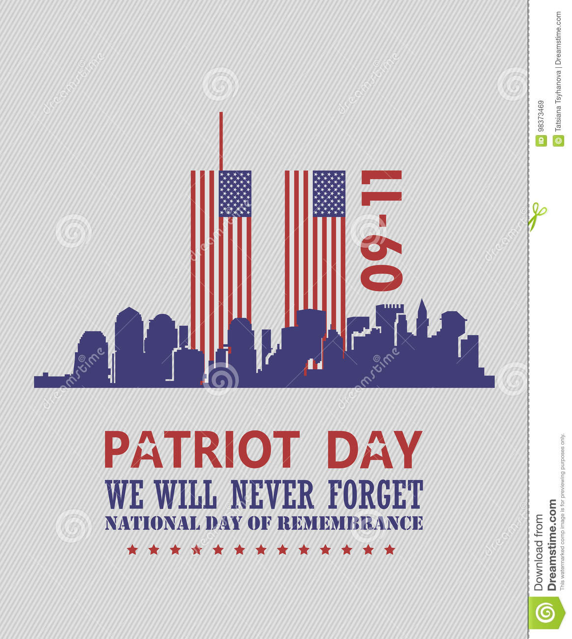 Patriot Day Vector Poster Usa Memorial September 11 9