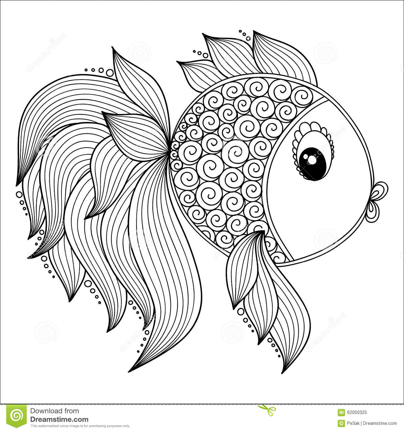 Pattern For Coloring Book Cute Cartoon Fish Stock Vector