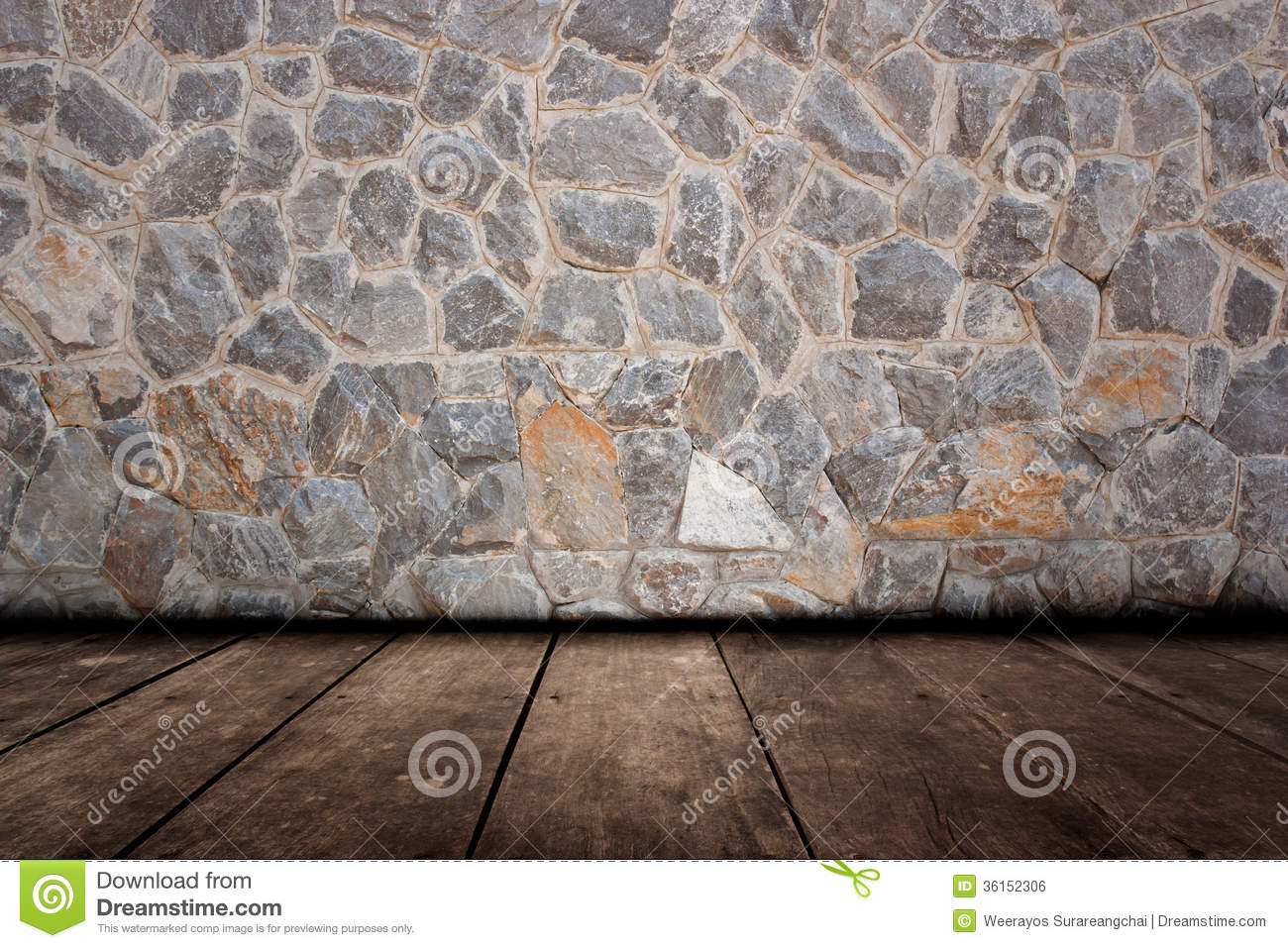 Pattern Of Decorative Stone Wall And Wood Flooring Surface