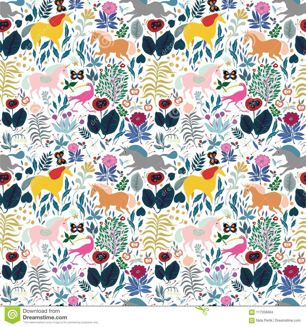A Pattern With A Fairy Tale Forest For Children Where