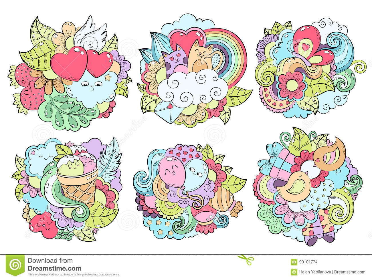 Download Pattern With Hand Drawn Heart, Cat, Balloon, Cloud, Strawberry,  Bird