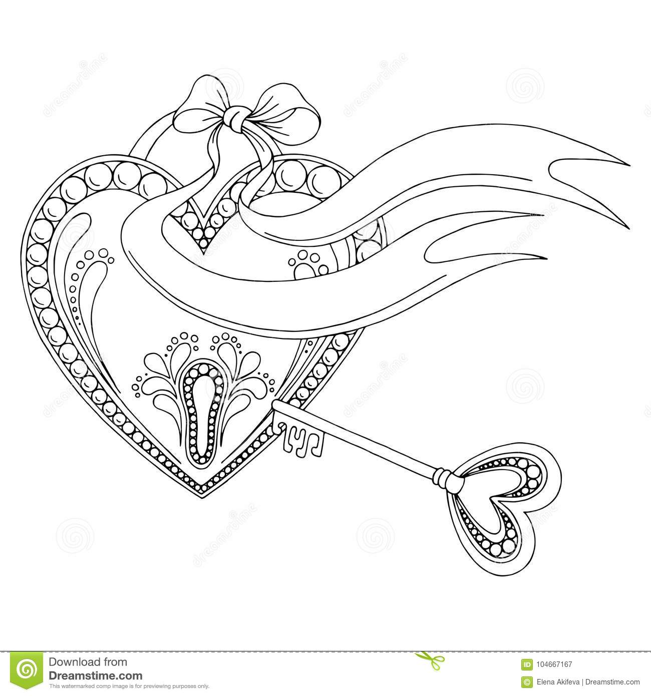 Pattern Heart Lock Key Doodle Black White Graphic Sketch
