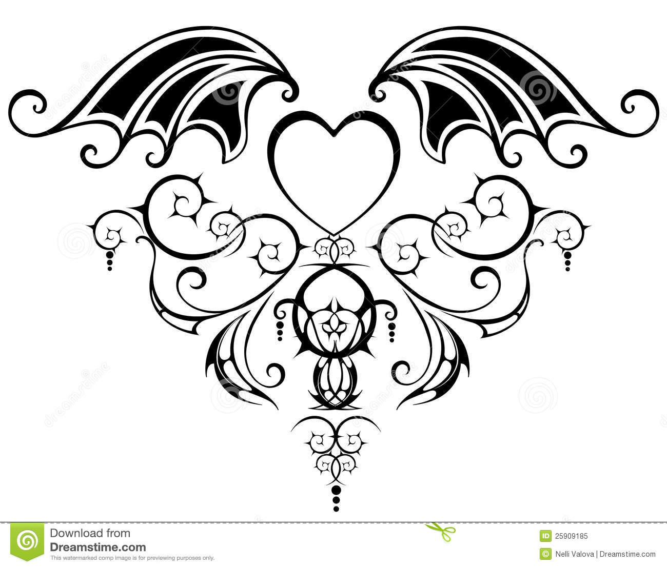 Pattern With Heart Of The Vampire Stock Vector