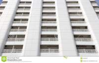 Pattern Of Many White Balcony Of A Modern Building Royalty ...