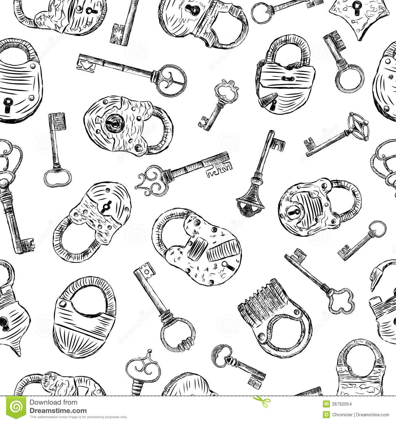 Pattern With A Padlocks And Keys Stock Vector