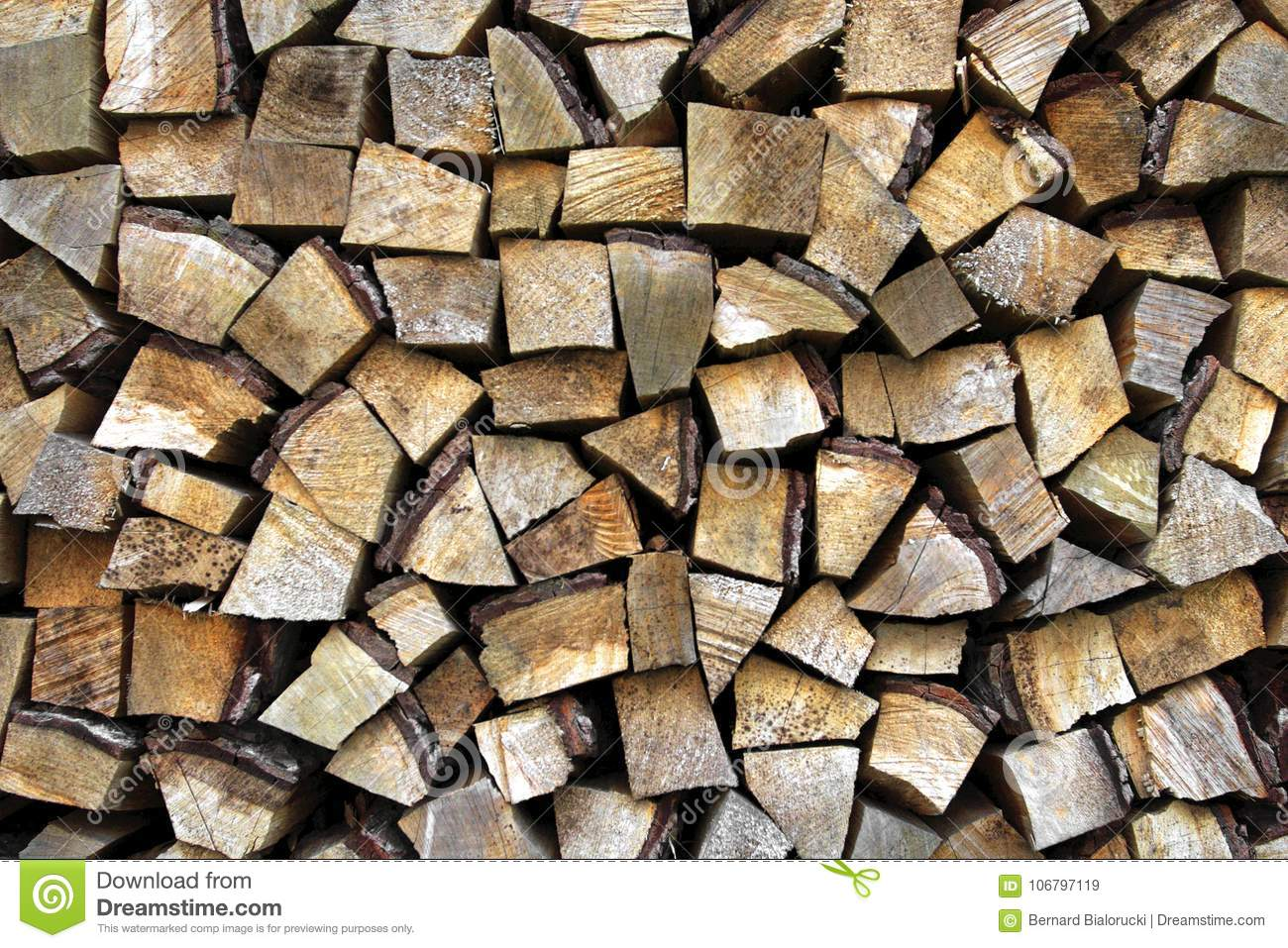 Pattern Of Wooden Sticks Arranged In A Neat Pile Stock
