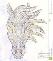 patterned head of horse stock