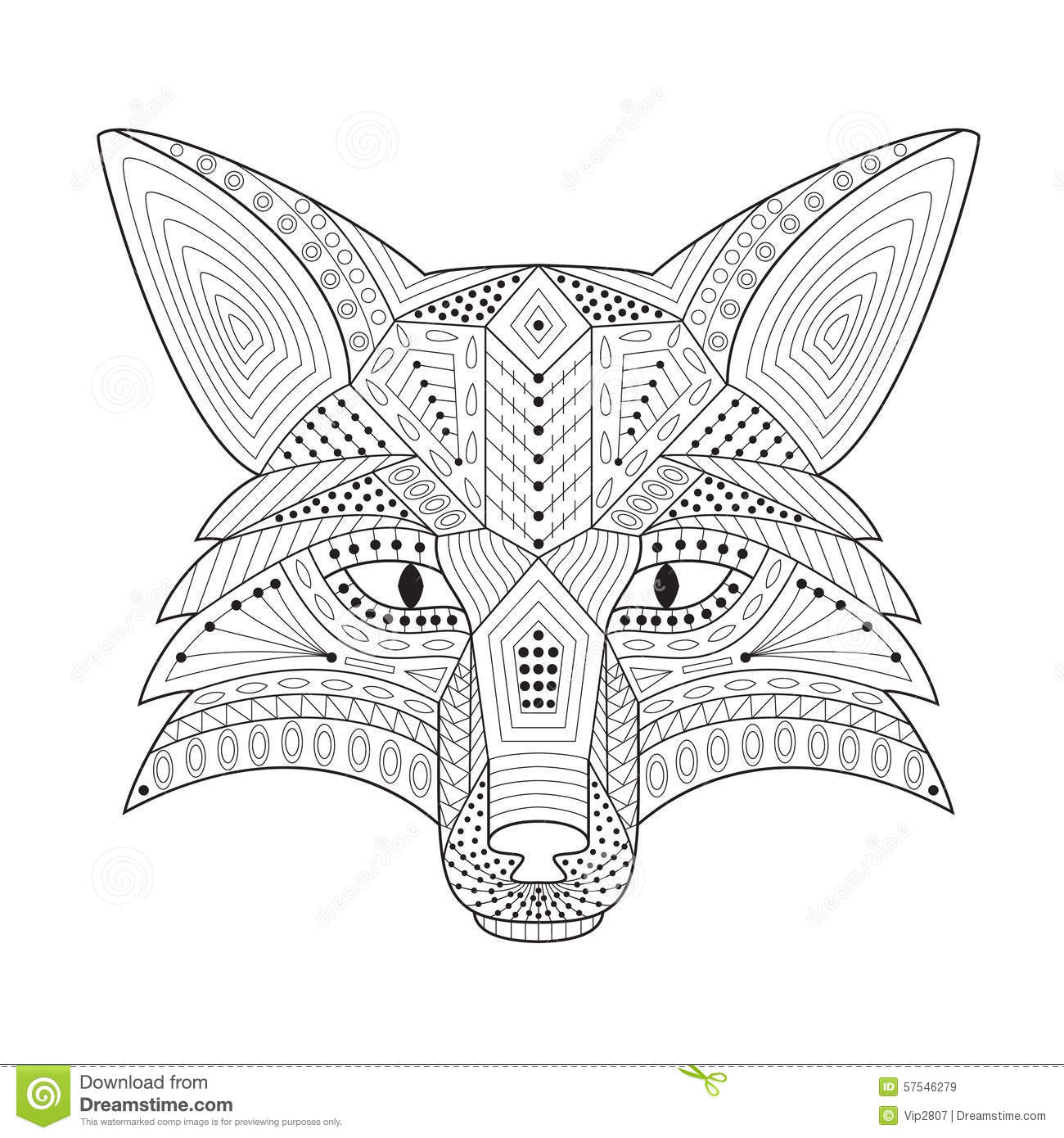Patterned Stylized Silhouette Of Head Fox Stock Vector