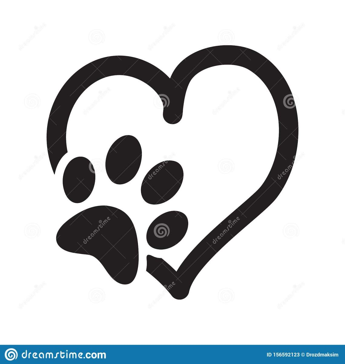 Download Paw Print With Heart, Animal Love Symbol, Isolated Vector ...