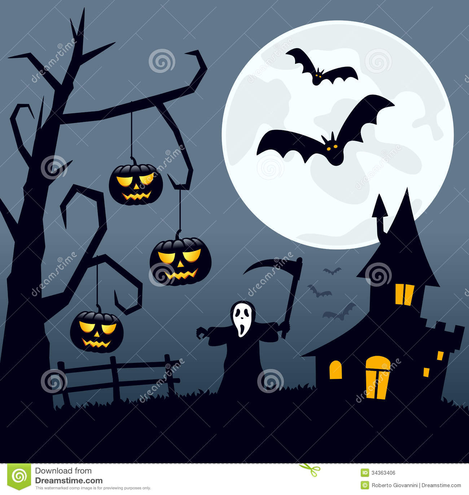 Fall Graveyard Cemetery Wallpaper Paysage Effrayant De Halloween Illustration De Vecteur