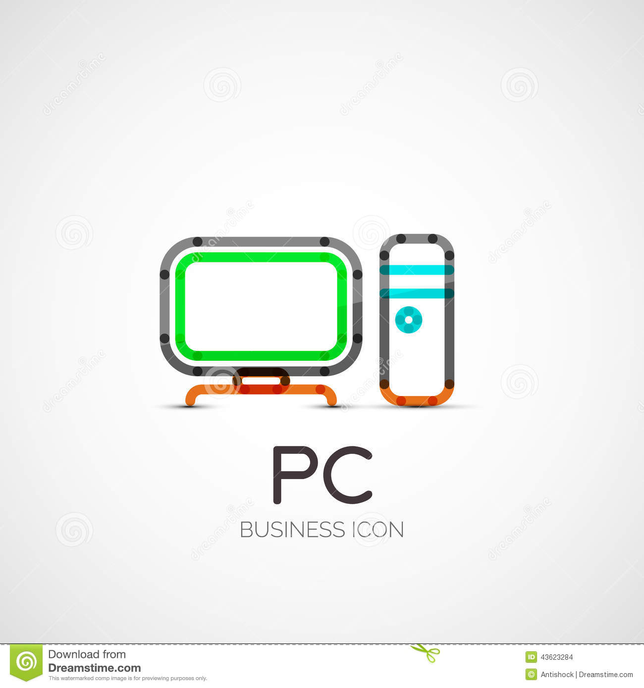PC Icon Company Logo, Business Concept Stock Vector