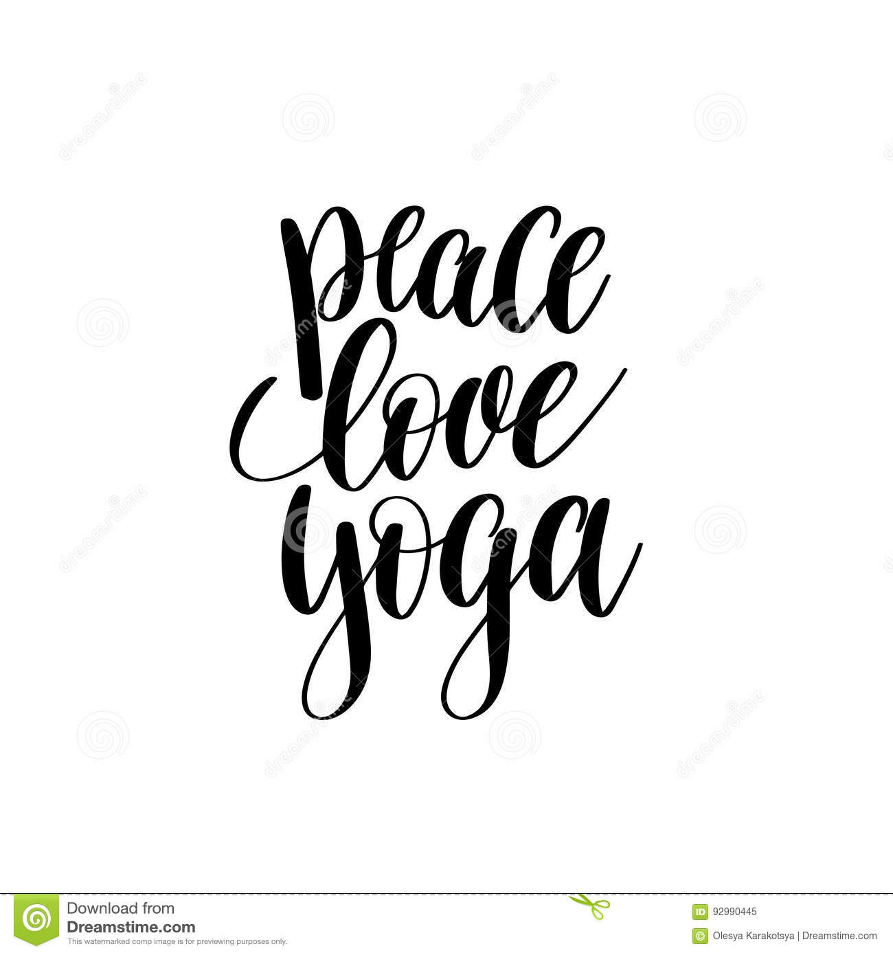 Peace Love Yoga Black And White Hand Lettering Stock