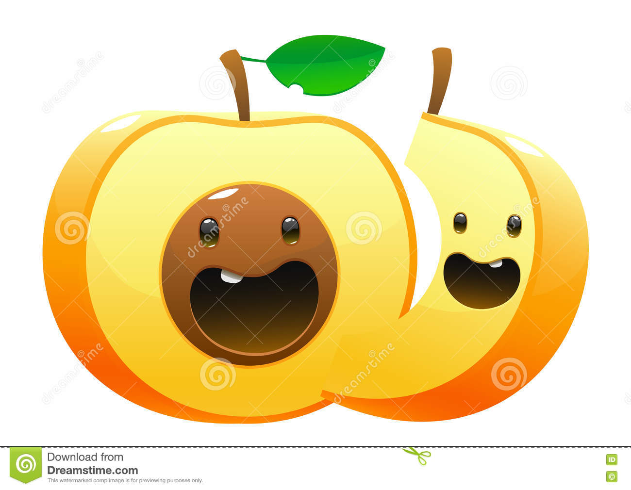 Peach Cartoon Two Character Cute Fun Stock Vector - Illustration of chopped. agriculture: 75036051