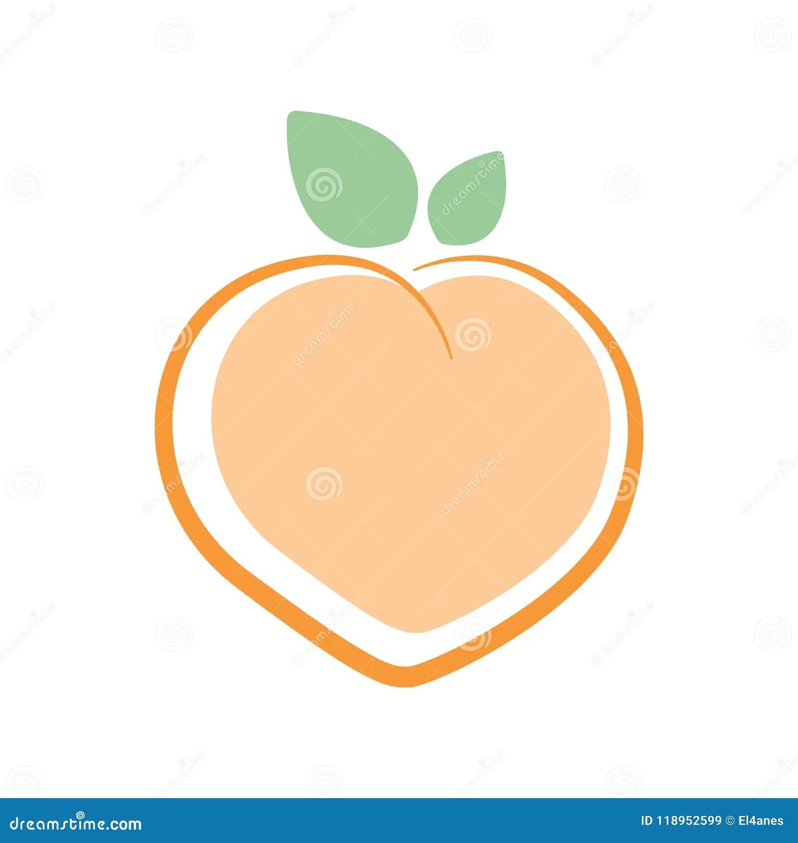 Peach Logo. Vector Illustration Stock Vector - Illustration of cute. background: 118952599