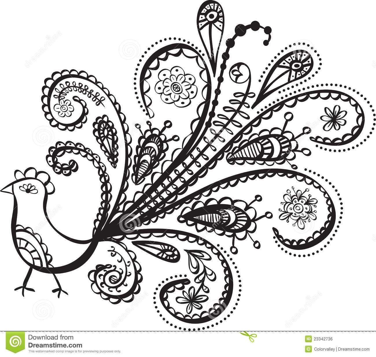 Peacock Bird Line Art Stock Vector Illustration Of Floral