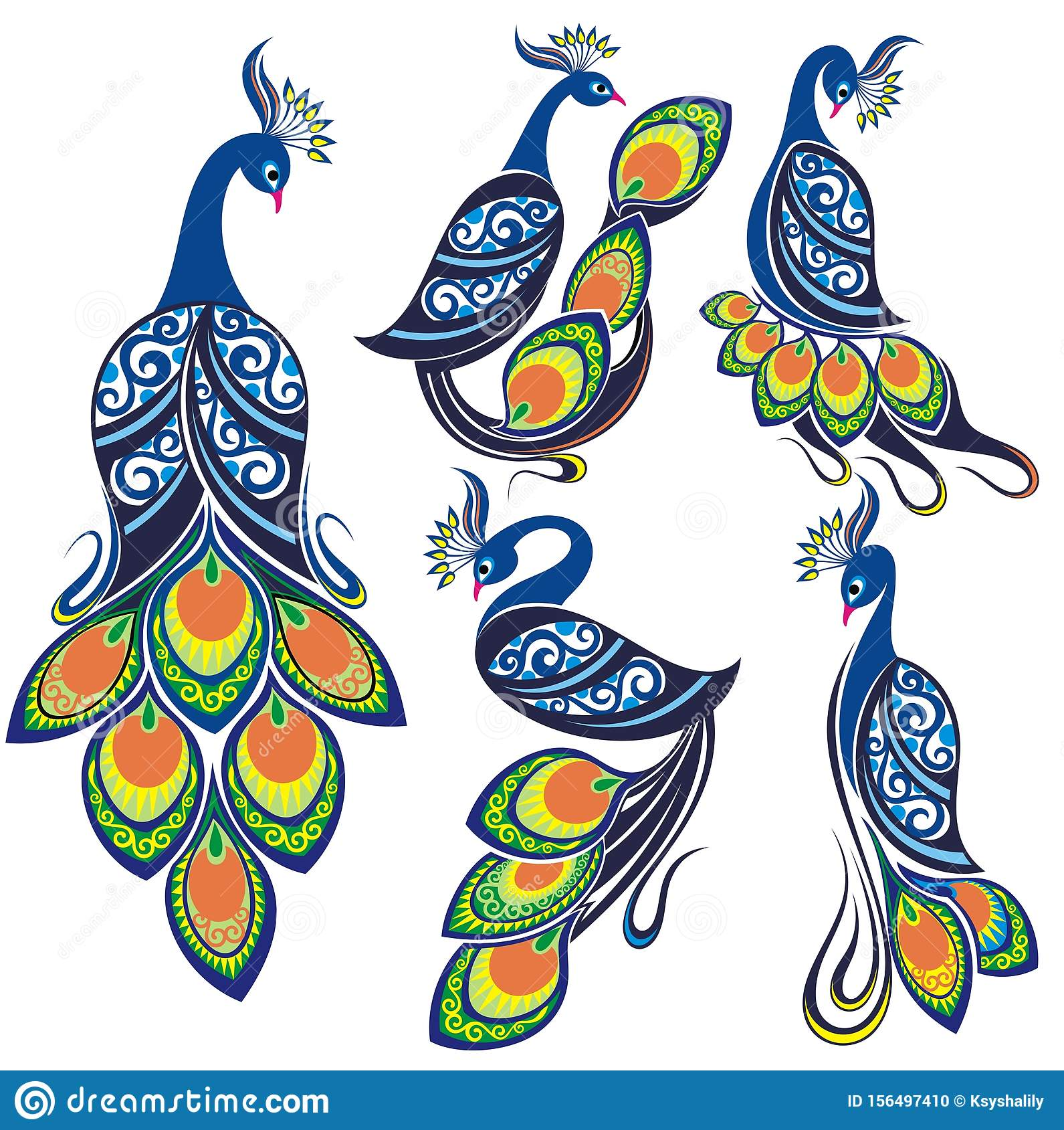Peacocks. Peacock Vector Set. Bird Logo Stock Vector - Illustration of isolated. cartoon: 156497410