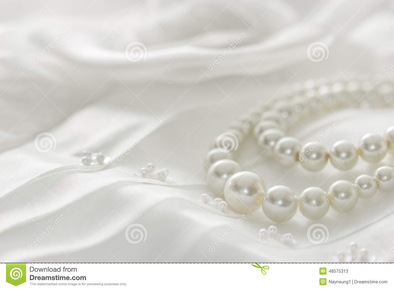 Pearl Necklace On Lace Background Stock Photo  Image 48575313