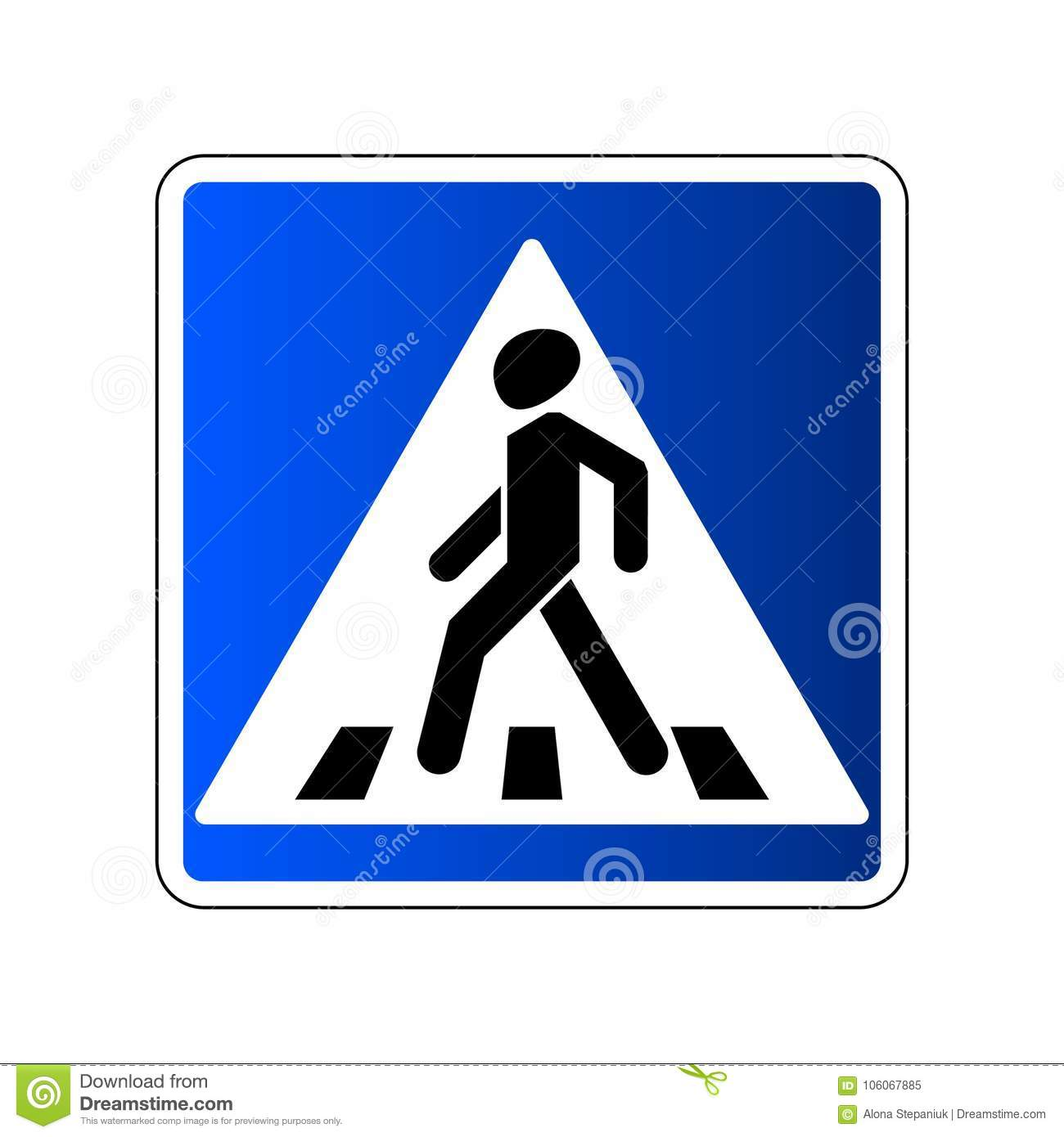 Pedestrian Crossing Sign Traffic Road Blue Sign Isolated