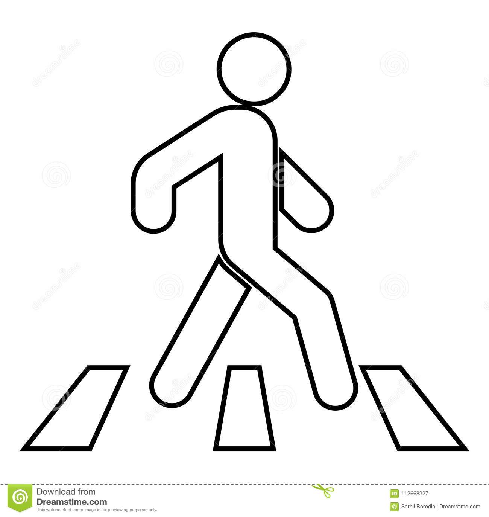 Pedestrian On Zebra Crossing Icon Black Color Illustration