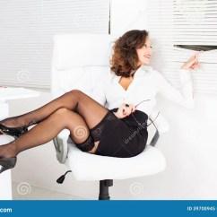 Woman Sitting In Chair Childrens Panton Peek Through The Window Stock Image Of White