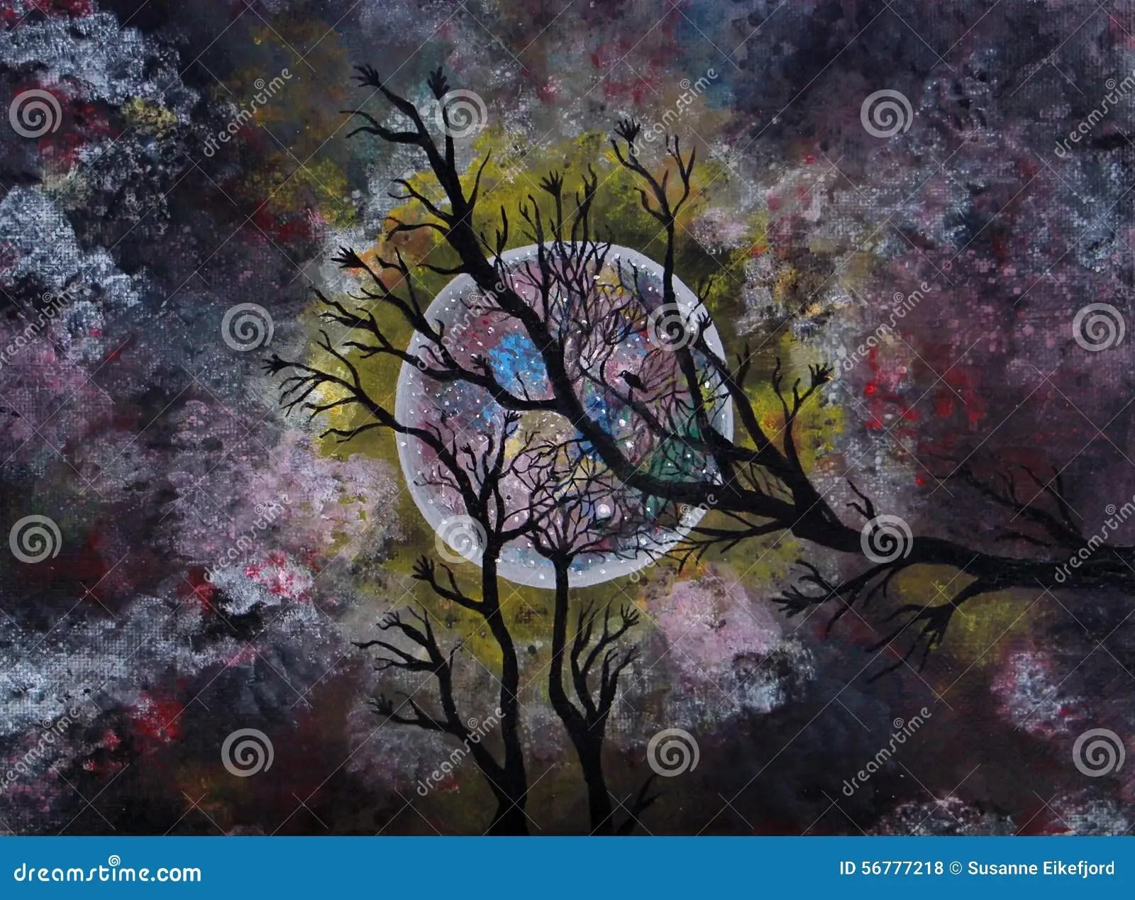 Peinture Acrylique De Clair De Lune Illustration Stock