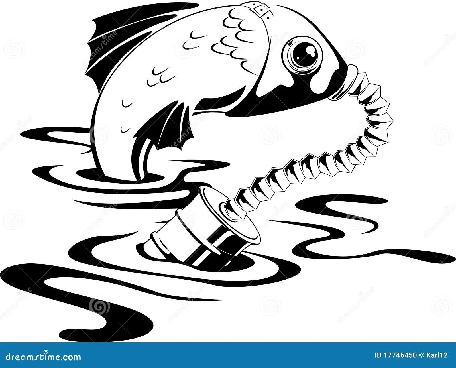 Peixes Na Mascara De Gas Foto De Stock